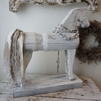 Primitive wood carved horse statue French Nordic painted white gray large wooden horse figure on base w/ wooden rosary anta spero design