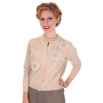 Vintage Taupe Cashmere Beaded Cardigan Sweater 1950s Small-Med