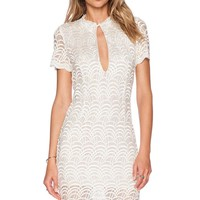 White Lacy Fish Scale Fashion Mini Dress