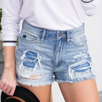 Amber High Waist Distressed Frayed Shorts