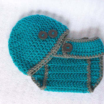 Baby Boy Diaper Cover Set in Teal and Grey, Crochet Diaper Cover, Diaper Cover and Hat Set, Photo Prop