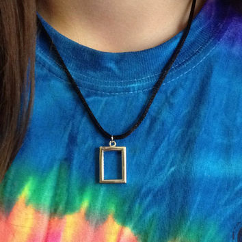 The 1975 inspired rectangle necklace on black cord  - small/minimalist rectangle