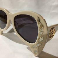 DCCKNY1 Authentic New GUCCI Sunglasses GG0143S Mother of Pearl White Frame Gray Lens