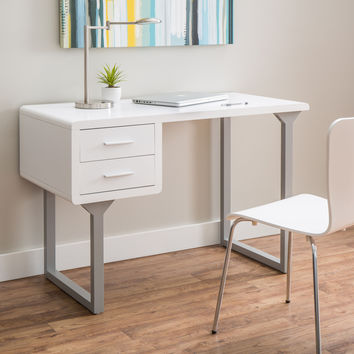 Retro White and Grey Writing Desk | Overstock.com Shopping - The Best Deals on Desks