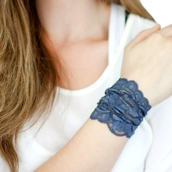 GRAY lace wrist cuff, thick wide lace jewelry, lace arm band MORE COLORS