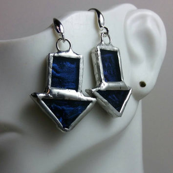 Stained Glass Earrings of Blue Van Gogh Glass, Downward Arrows Stained Glass Earrings, Unusual One Of A Kind Jewelry