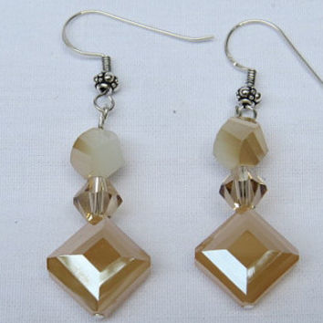 Gold Diamond Faceted Earrings, Long Dangle Earrings, Drop Earrings