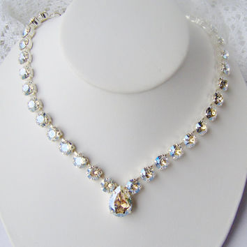 Swarovski crystal rhinestone necklace / Crystal Moonlight / Statement necklace / Bridal / Tennis necklace