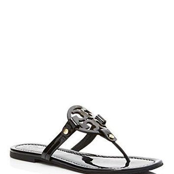 Tory Burch Women's Vachetta Leather Flat Thong Sandals - Miller (9, Patent Black)