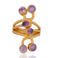 18K Yellow Gold Plated Sterling Silver Amethyst Gemstone Knuckle Ring