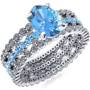 Lacy Aqua Blue Spinel Full Eternity Aqua Blue Spinel and Diamond Accent Ring