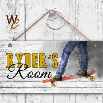 "LongBoard Sign, Rustic Skate Board Sports Sign, Personalized Sign, Kid's Name, Kids Door Sign, Nursery Art, 5"" x 10"" Sign,  Made To Order"