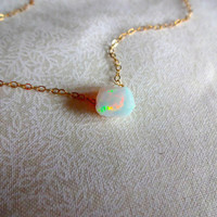 Rough Opal Necklace & 925 Sterling Silver; Oxidized Sterling Silver; 14k Rose Gold Fill; 14k Gold Fill Chain - Gift for Her; Gift For Mom