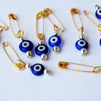 50 Pcs Bulk Evil Eye Beads With Pin Gift Tag Wedding invitation Beads With Pin  Set Of 50, Ojo Beads, Dark Blue Evil Eye Beads With Hook