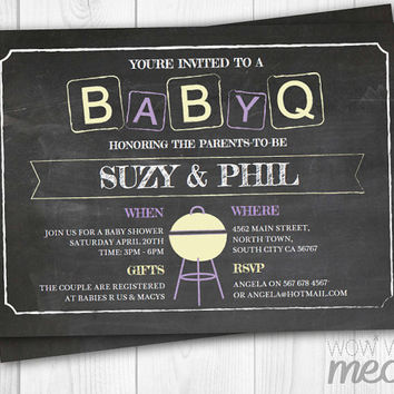 BABYQ Baby Shower BBQ Couples Invitation Boy Girl Rustic Instant DOWNLOAD Chalk Gender Reveal Twins Party Invite Purple Editable Printable