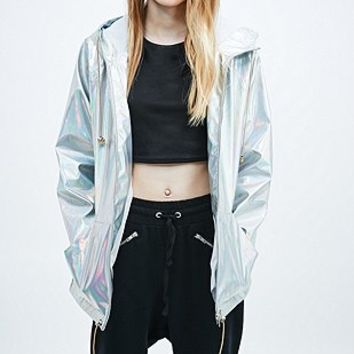Pippa Lynn Holographic Rain Jacket - Urban Outfitters