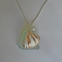 Aqua Sea Glass Necklace with Shell