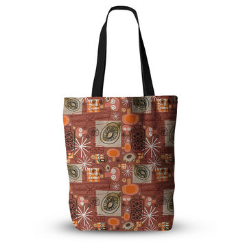 "Jane Smith ""Vintage Kitchen"" Brown Orange Everything Tote Bag"