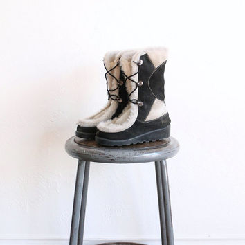 Vintage 70s Women's Boho Leather and Horsehair Fur Boots // Winter Boots Sz 7