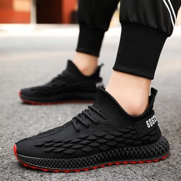 Breathable Running Shoes For Man Mesh Slip On Sneakers Shoes Lace Up Men Jogging Shoes Outdoor Sneakers Casual Sports Black Red