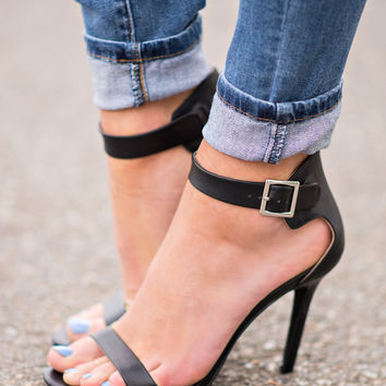 Classy Or Sassy Strap Stiletto Heels In Black