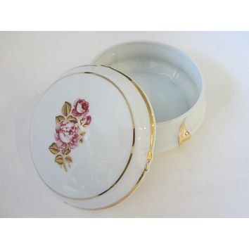 Limoges France Rose Medallion Porcelain Box With Stamp Mark