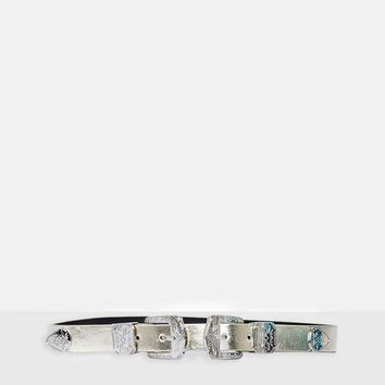 Missguided - Metallic Western Double Bucket Belt