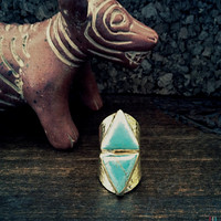 Turquoise Ring,Triangle Ring,Turquoise Triangle Ring,Geometric Turquoise ring,Southwestern Jewelry,Tribal Jewelry,Gold Turquoise,Cigar Ring