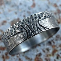 tree of life ring black silver, unique viking ring, celtic wedding band, matching wedding rings, mens wedding band organic, meteorite ring
