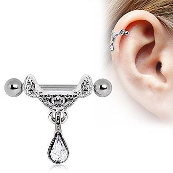 Celtic Floral Tiara Ear Cuff with Tear Drop WildKlass Dangle 316L Surgical Steel