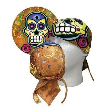 Day of the Dead Tattoo Print Super D-Lux Danbanna Headwrap