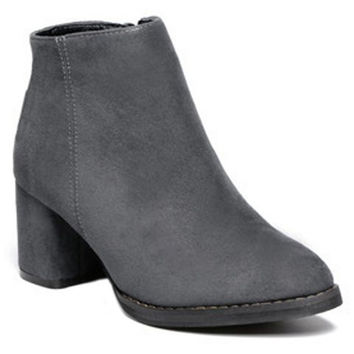 Chunky Heel Ankle Suede Boots