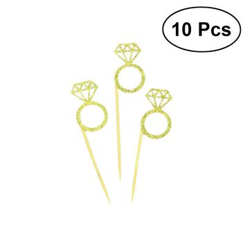 10pcs Wedding Decorations Wedding Cupcake Toppers Glitter Diamond Ring Design for Weddings Bridal Showers Party Supplies
