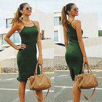 Summer Women's Fashion Sleeveless Spaghetti Strap Green One Piece Dress [6343448897]