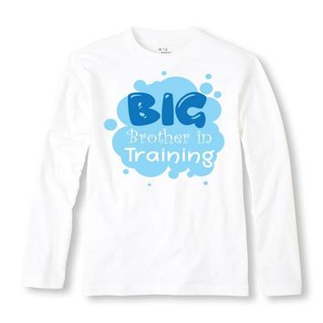 Big Brother In Training Personalized Long Sleeve Shirt - Personalized with ANY Name! Infant TShirt. Toddler. Sibling. Birth Announcement.