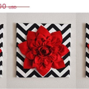 "MOTHERS DAY SALE Three Red Wall Flowers -Red Dahlias on Black and White Chevron 12 x12"" Canvases Wall Art- Baby Nursery Wall Decor-"