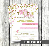 Twinkle Twinkle Little Star Baby Shower Invitation pink and gold editable template printable instant download confetti stars invite girl