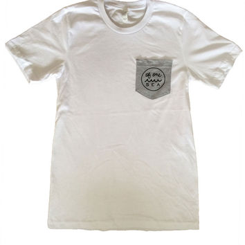 White Men's Tee with Heather Grey Pocket