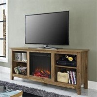 "58"" Barnwood TV Stand with Fireplace Insert"