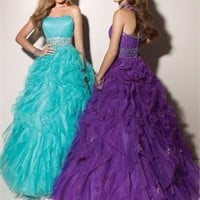 Ball Gown Floor Length Strapless Purple Or Light Blue Ed1006 Sequins Belt Evening Dress EVD076