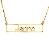 Outlined Name Bar Necklace