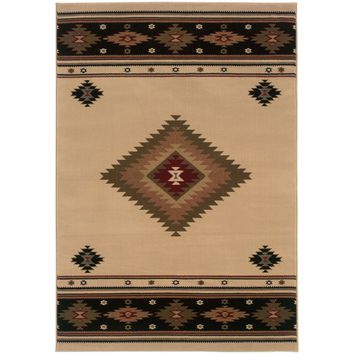 Hudson Beige Green Southwest/Lodge  Transitional Rug