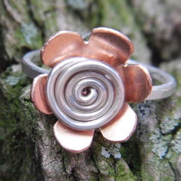 Sterling Silver and Copper Flower Ring, Handmade Spiral Flower Spring Jewelry Gift for Her Made to Order Girlfriend Bridesmaid Teenager Gift