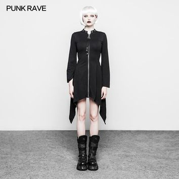 PUNK RAVE 2018 New Arrivals Women Dress Gothic Punk Irregular hem Composite version Diabolic Stand Collar Dress