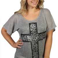 plus size short sleeve sweater knit top with cheetah cross on front - debshops.com