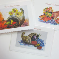 Cornucopia 3 Greeting cards YOU Pick Header message Thanksgiving or no message Note cards holiday