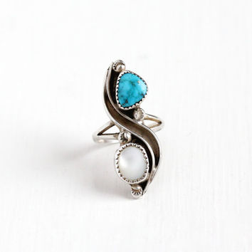 Vintage Sterling Silver White Mother of Pearl & Turquoise Ring - Size 6 1/2 Retro Southwestern Native American Bohemian Navette Jewelry