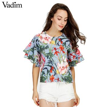 Vadim women sweet ruffles loose floral shirts short sleeve o neck blouse European style flower print tops blusas DT1052