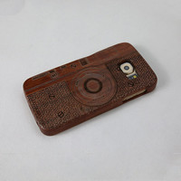 Camera Pattern Genuine Handmade Natural Wood Cover for  Samsung galaxy S6 Wooden Hard Case