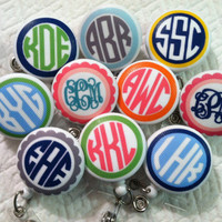 Perfect Present -- Monogrammed Badge Reel ID Holder Badge Pull for Students Nurses Teachers Doctors
